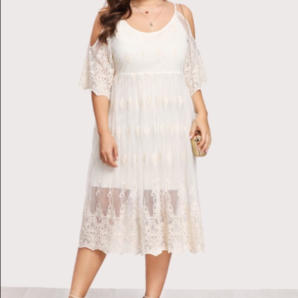 Ivory off-white bohemian lace dress plus size Boutique